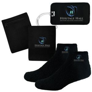 Fuzzy Feet Slipper Socks, Luggage Tag and RFID Blocking Wristband Wallet Combo
