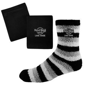 Fashion Fuzzy Feet and RFID Blocking Wristband Wallet
